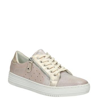 Růžové kožené tenisky se zipem bata, růžová, 526-5630 - 13