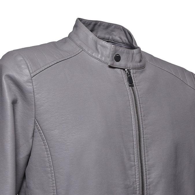 Pánská koženková bunda bata, šedá, 971-2191 - 16