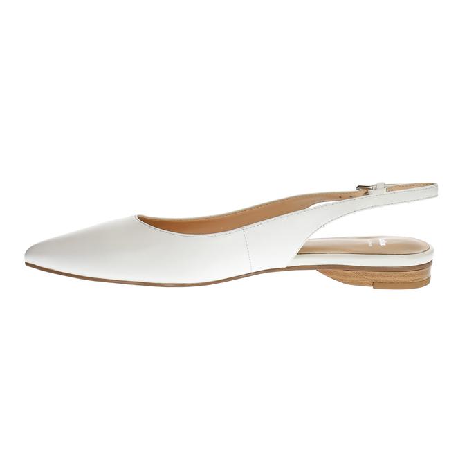 Kožené baleríny s páskem přes patu bata, bílá, 524-1603 - 26