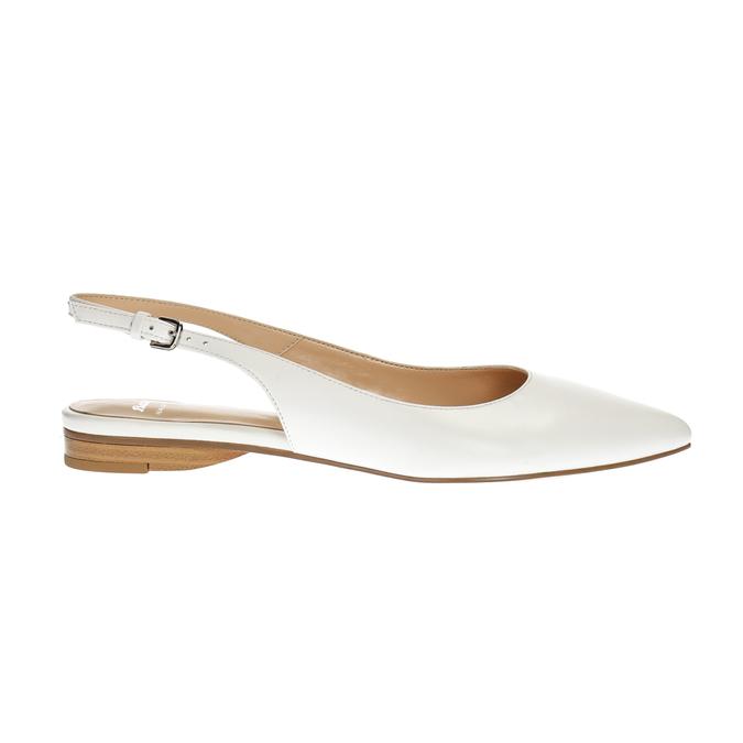 Kožené baleríny s páskem přes patu bata, bílá, 524-1603 - 15
