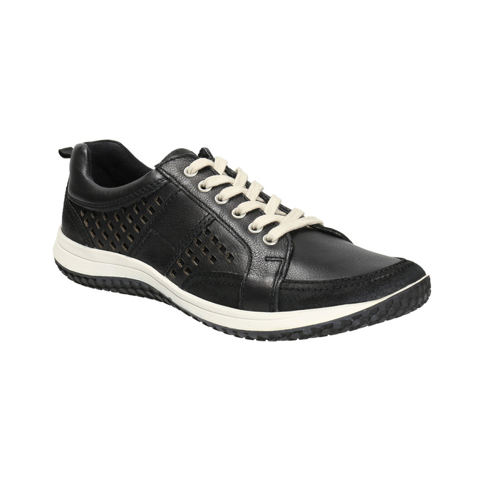 Pánské kožené tenisky bata, černá, 844-6634 - 13