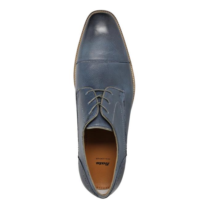 Modré kožené polobotky bata, modrá, 826-9801 - 19