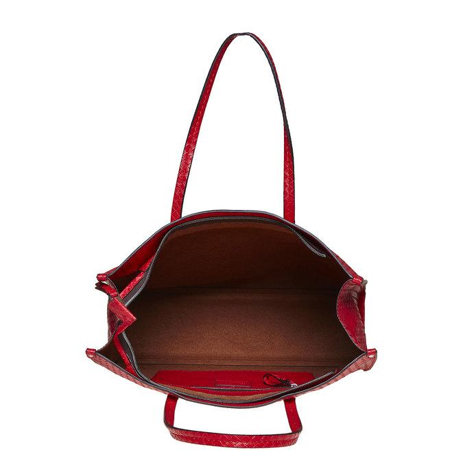 Červená kabelka s pleteným vzorem bata, červená, 961-5289 - 15