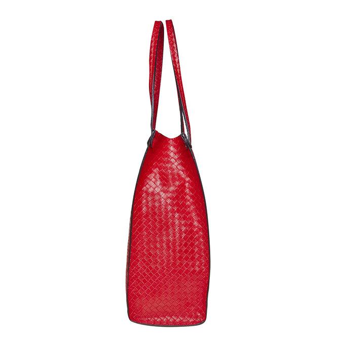Červená kabelka s pleteným vzorem bata, červená, 961-5289 - 17