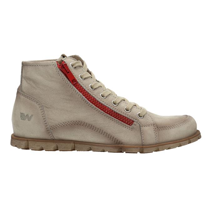 Kožená kotníčková obuv s červeným zipem weinbrenner, hnědá, 596-8654 - 15