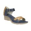 Kožené sandály na klínku bata, modrá, 626-9642 - 13
