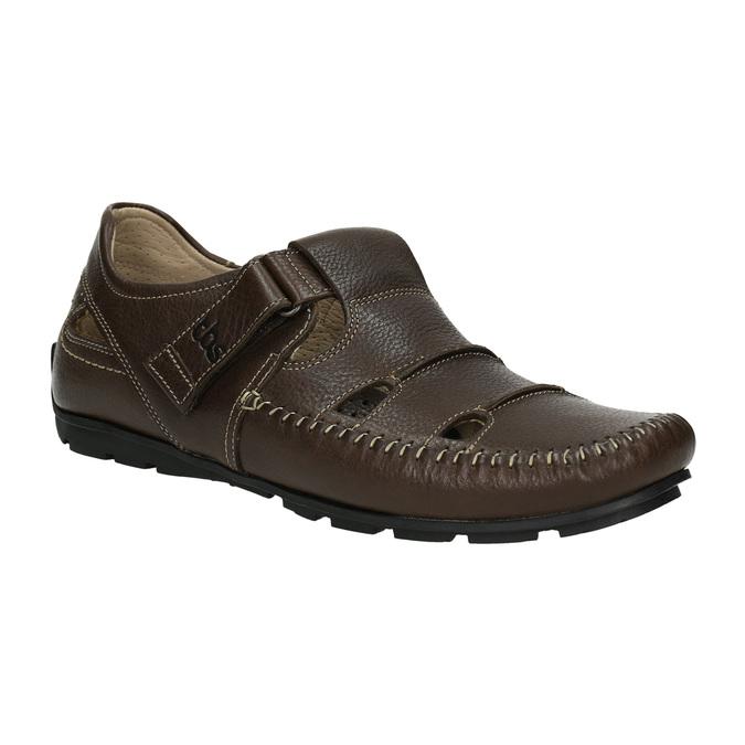 Pánské kožené sandály tbs-, hnědá, 814-4004 - 13
