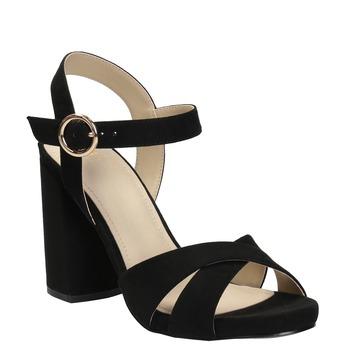 Dámské sandály na masivním podpatku bata, černá, 769-6602 - 13