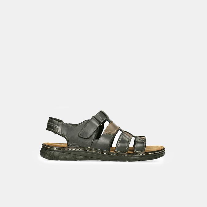 Černo-hnědé pánské kožené sandály bata, hnědá, 866-4610 - 13