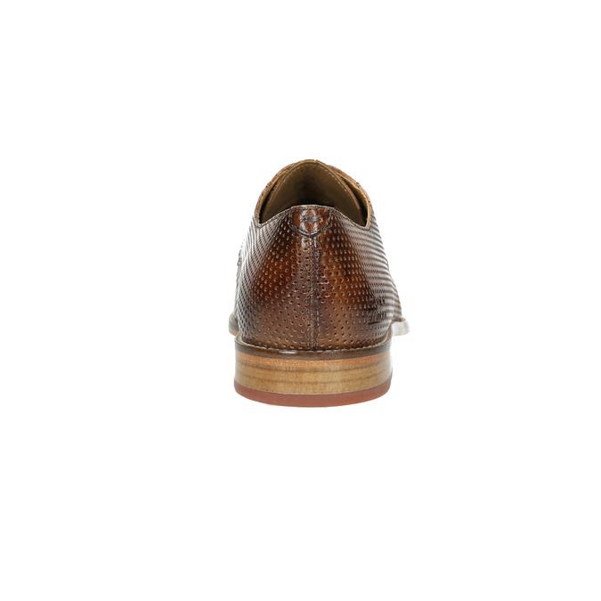 Kožené pánské polobotky s perforací melvinandhamilton, hnědá, 826-8058 - 17