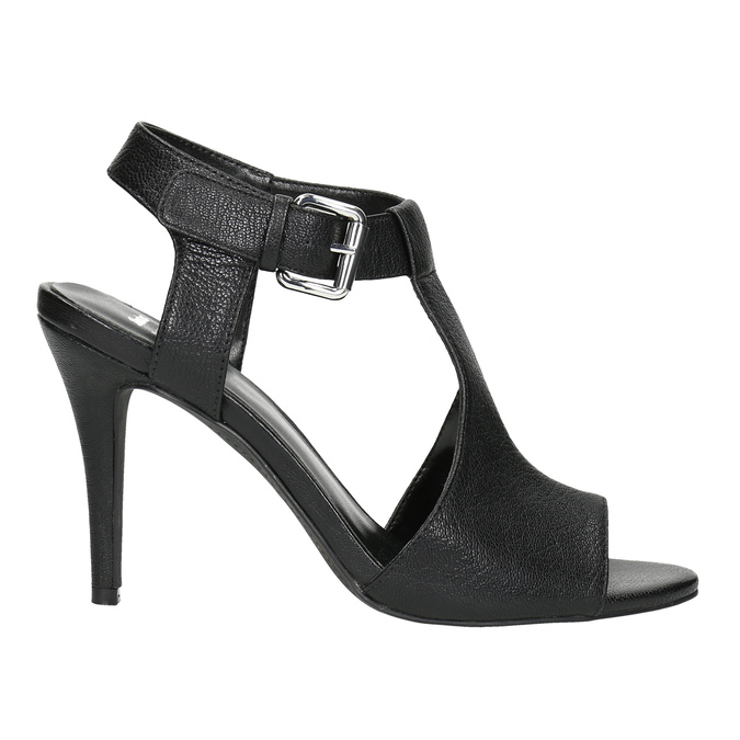 Kožené černé sandály na podpatku bata, černá, 766-6600 - 15