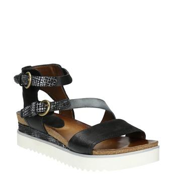 Kožené dámské sandály na flatformě bata, černá, 666-6604 - 13