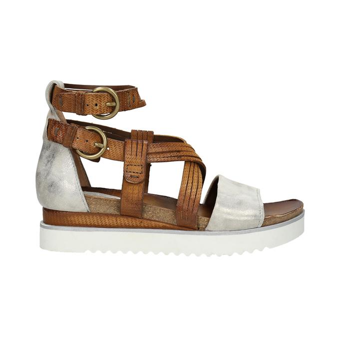 Kožené sandály na flatformě bata, hnědá, 666-1605 - 15