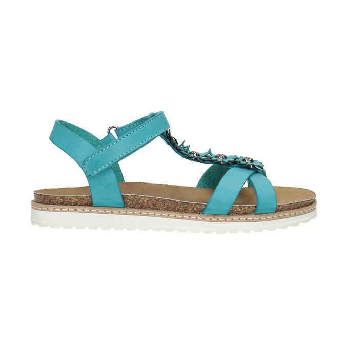 Dětské sandály s kytičkami mini-b, tyrkysová, 361-9601 - 15