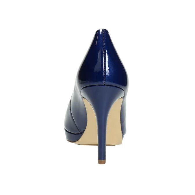 Kožené lakované lodičky hogl, modrá, 728-9400 - 17