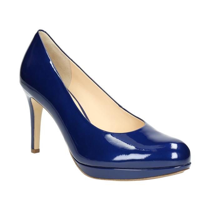 Kožené lakované lodičky hogl, modrá, 728-9400 - 13