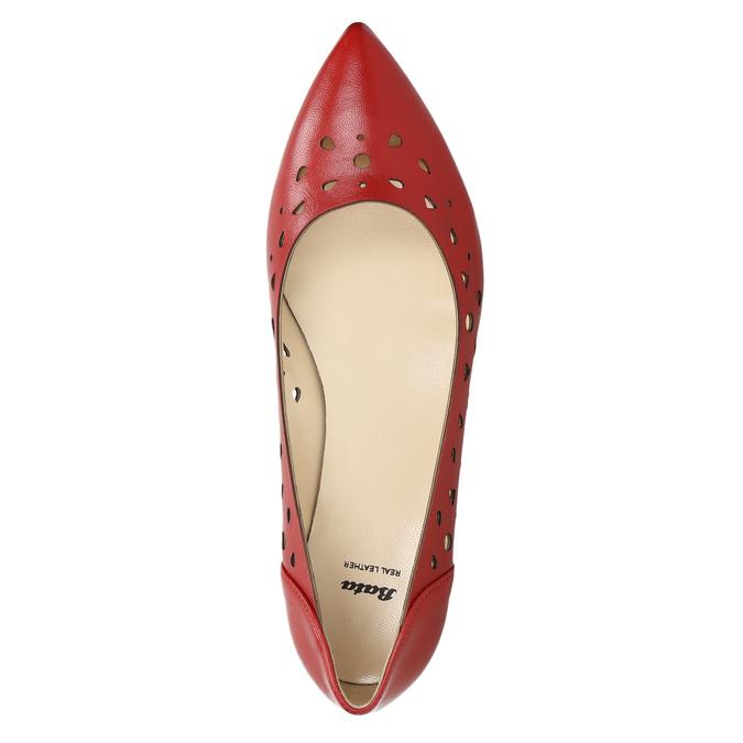 Červené kožené baleríny bata, červená, 524-5604 - 26
