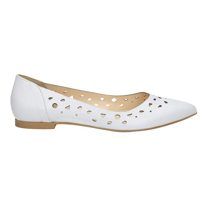 Bílé kožené baleríny bata, bílá, 524-1604 - 15