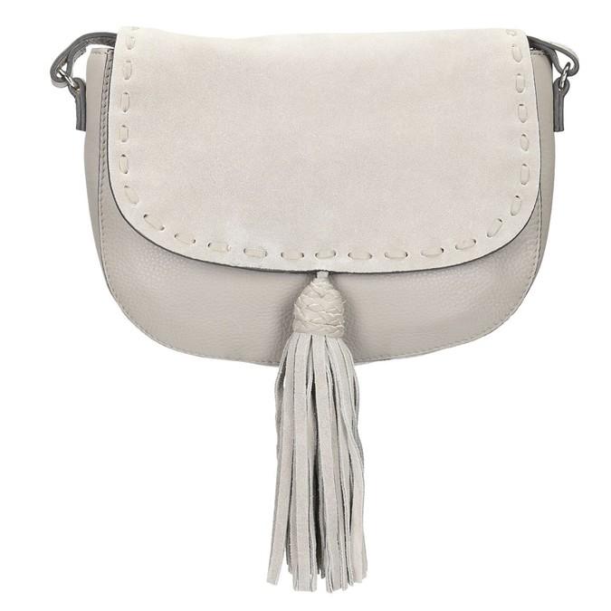 Kožená kabelka se střapcem bata, béžová, 964-8161 - 19