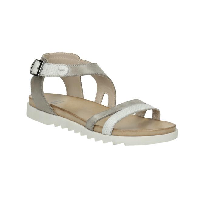 Kožené sandály na výrazné podešvi bata, šedá, 566-2606 - 13