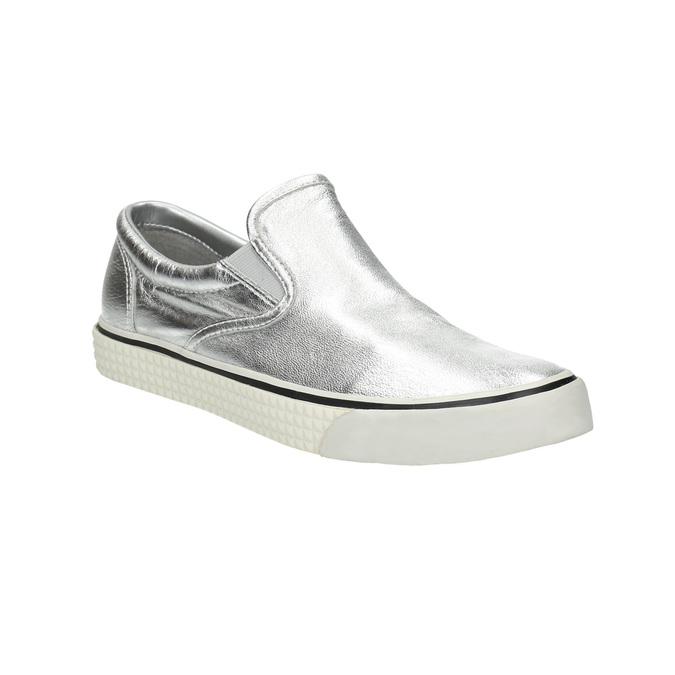 Kožená stříbrná Slip-on obuv diesel, stříbrná, 504-1437 - 13