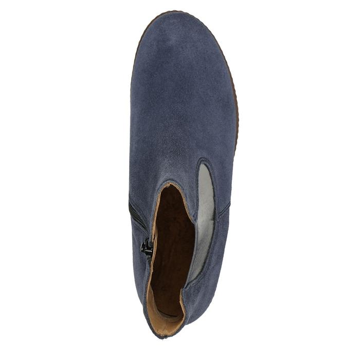 Kotníčkové kozačky z broušené kůže gabor, modrá, 613-9013 - 26