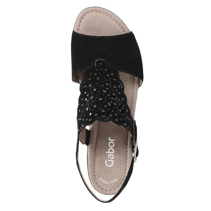 Kožené dámské sandály s perforací gabor, černá, 663-6201 - 19