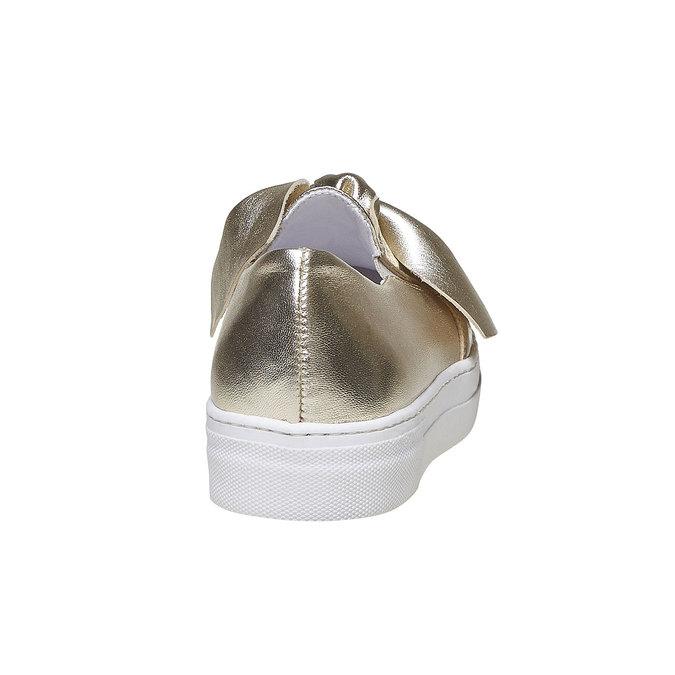 Zlatá kožená Slip-on obuv s mašlí north-star, zlatá, 514-8264 - 17