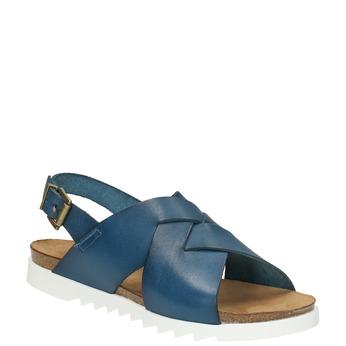 Dámské kožené sandály weinbrenner, modrá, 566-9628 - 13