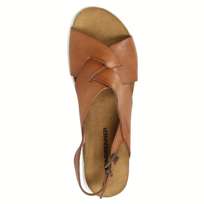 Dámské kožené sandály s propletením weinbrenner, hnědá, 566-4628 - 19