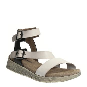 Dámské kožené sandály weinbrenner, šedá, 566-2627 - 13
