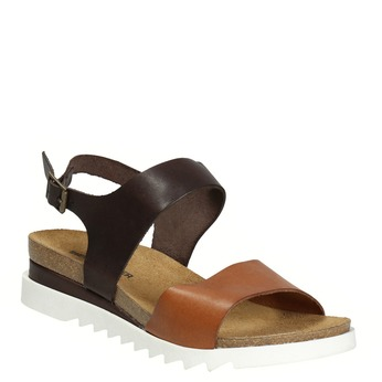 Kožené sandály na bílé podešvi weinbrenner, hnědá, 566-4629 - 13