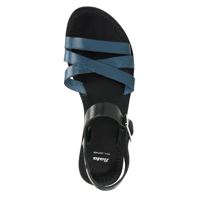 Kožené sandály s modrými pásky bata, modrá, 566-9615 - 19