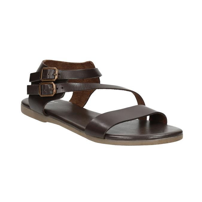 Hnědé kožené sandály bata, hnědá, 566-4613 - 13