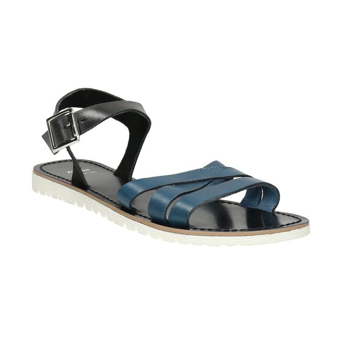 Kožené sandály s modrými pásky bata, modrá, 566-9615 - 13