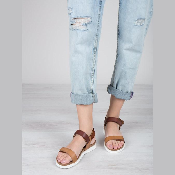 Dámské kožené sandály weinbrenner, hnědá, 566-4630 - 18