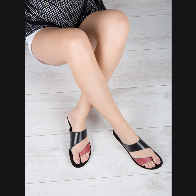 Dámské kožené nazouváky bata, černá, 566-5614 - 18