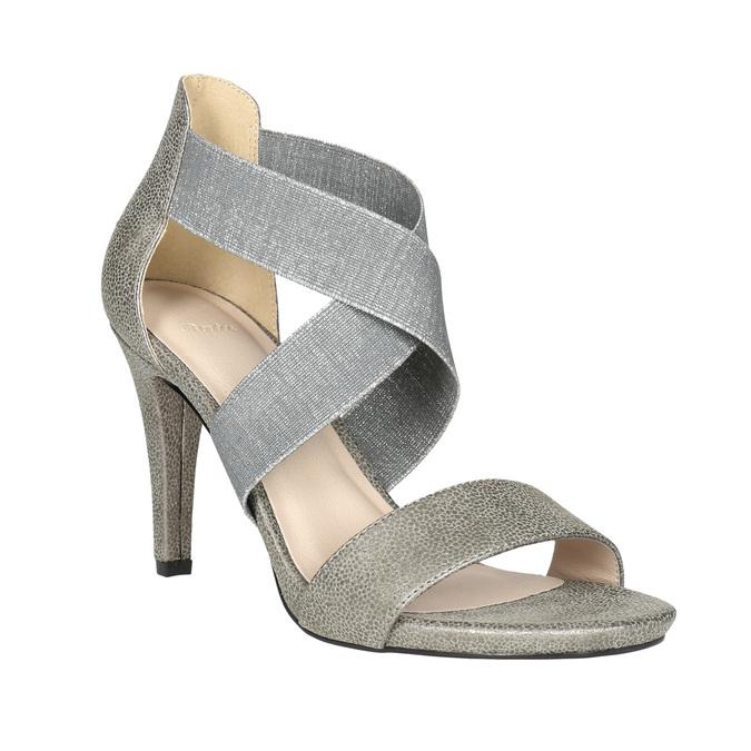 Dámské sandály na podpatku bata, šedá, 761-2614 - 13