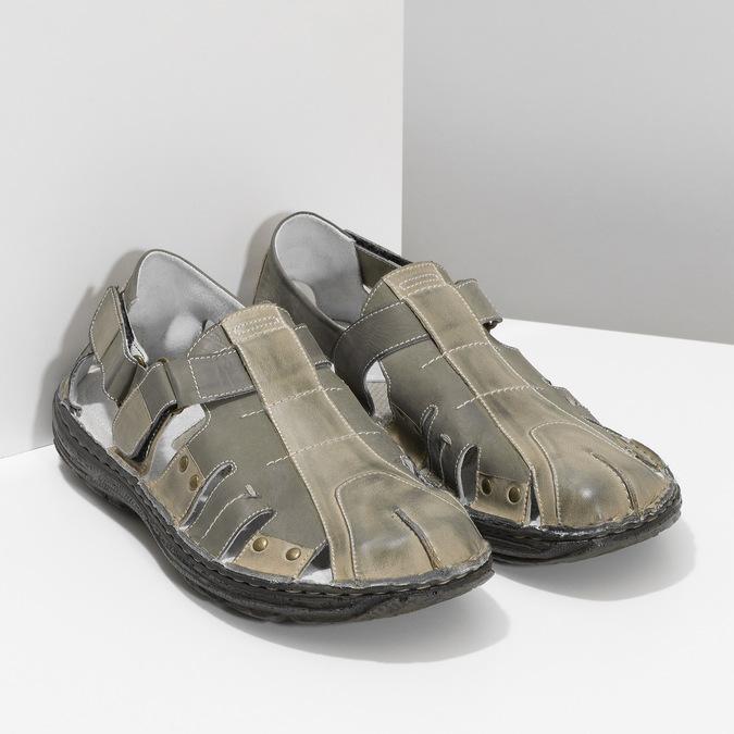Pánské kožené sandály hnědé bata, hnědá, 866-2622 - 26