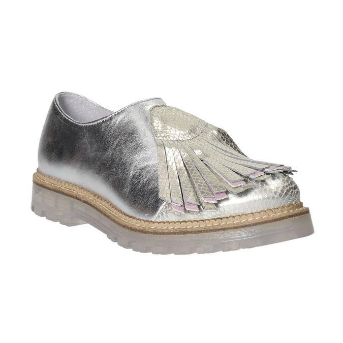 Dámské kožené polobotky stříbrné bata, stříbrná, 536-1600 - 16