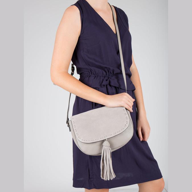 Kožená kabelka se střapcem bata, béžová, 964-8161 - 17