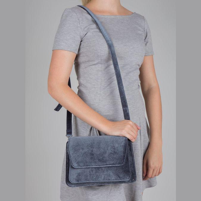 Dámská sametová kabelka bata, šedá, 969-2662 - 17