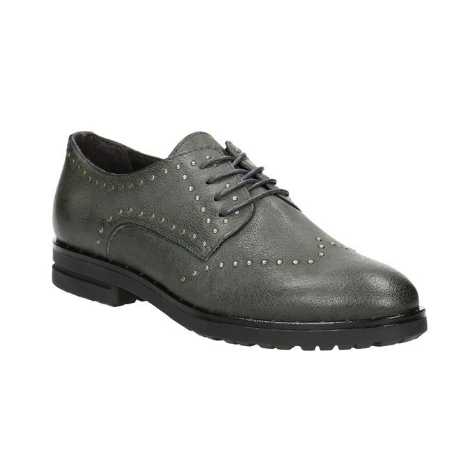 Kožené polobotky s kovovými cvoky bata, šedá, 526-9643 - 13