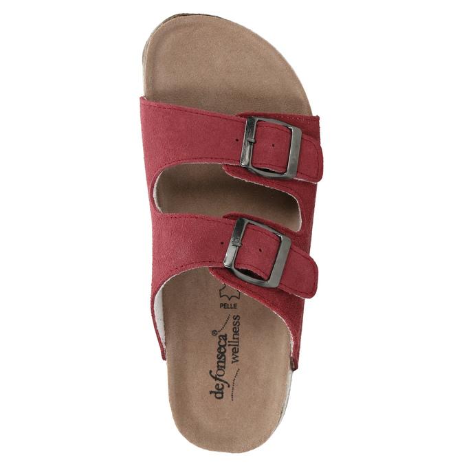 Kožené dámské pantofle de-fonseca, červená, 573-4621 - 19