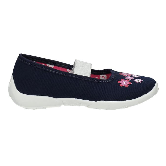 Domácí obuv s kytičkami mini-b, modrá, 379-9215 - 15