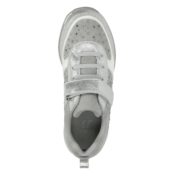 Stříbrné dívčí tenisky s kamínky mini-b, šedá, 329-2295 - 26