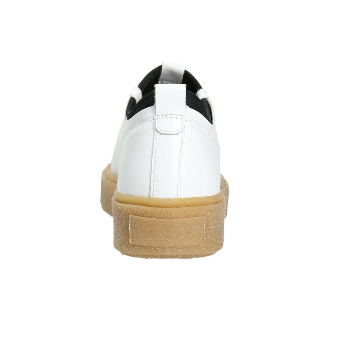 Dámské kožené tenisky na flatformě bata, bílá, 526-1645 - 17