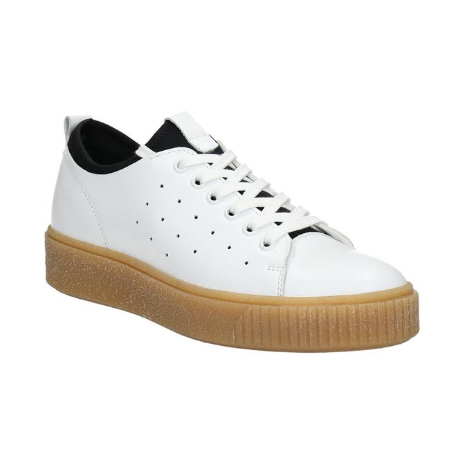 Dámské kožené tenisky na flatformě bata, bílá, 526-1645 - 13