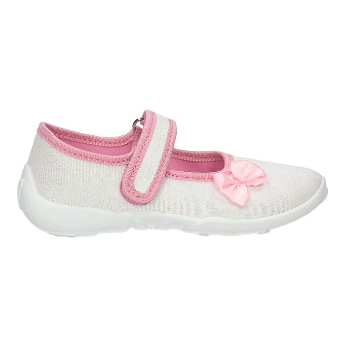 Dětská domácí obuv s mašličkou mini-b, bílá, 379-1214 - 15