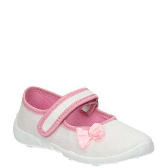 Dětská domácí obuv s mašličkou mini-b, bílá, 379-1214 - 13